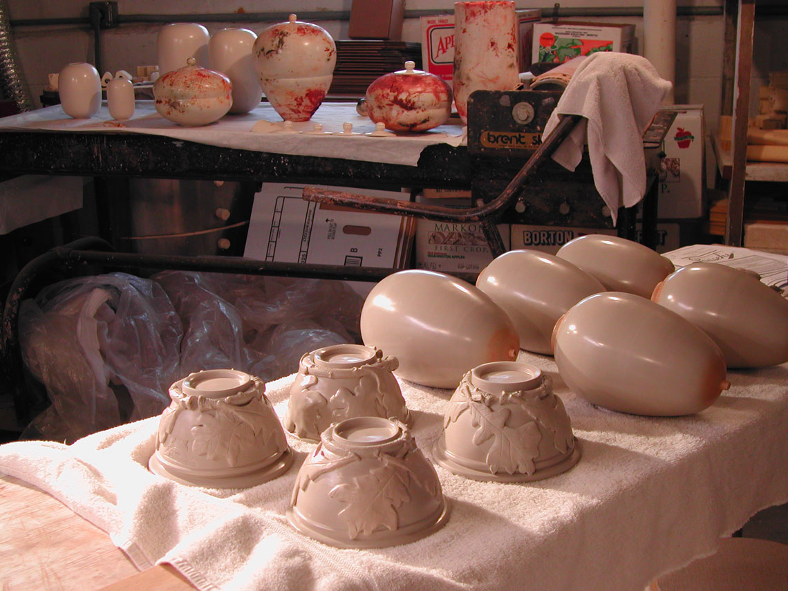The pieces are then bisque-fired.