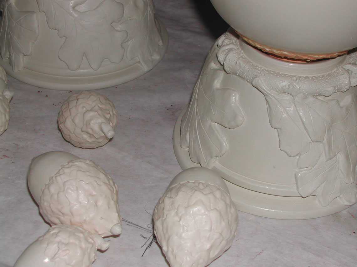 Notice the detail on the bisque-fired pieces.