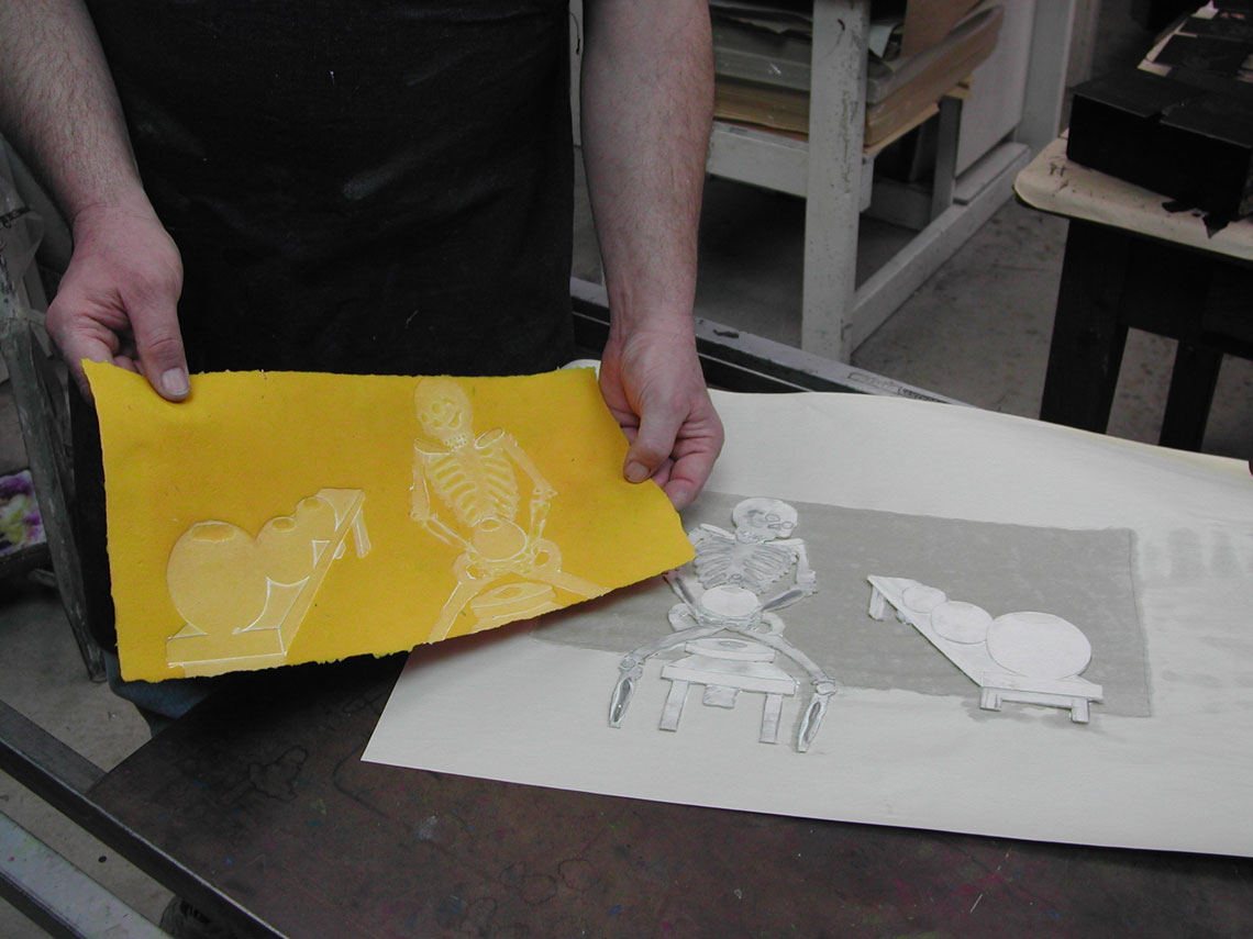 Creating a collagraph print with white ink
