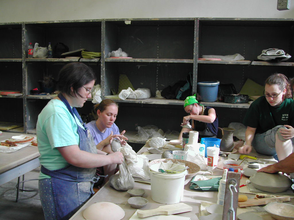 Students create clay pieces