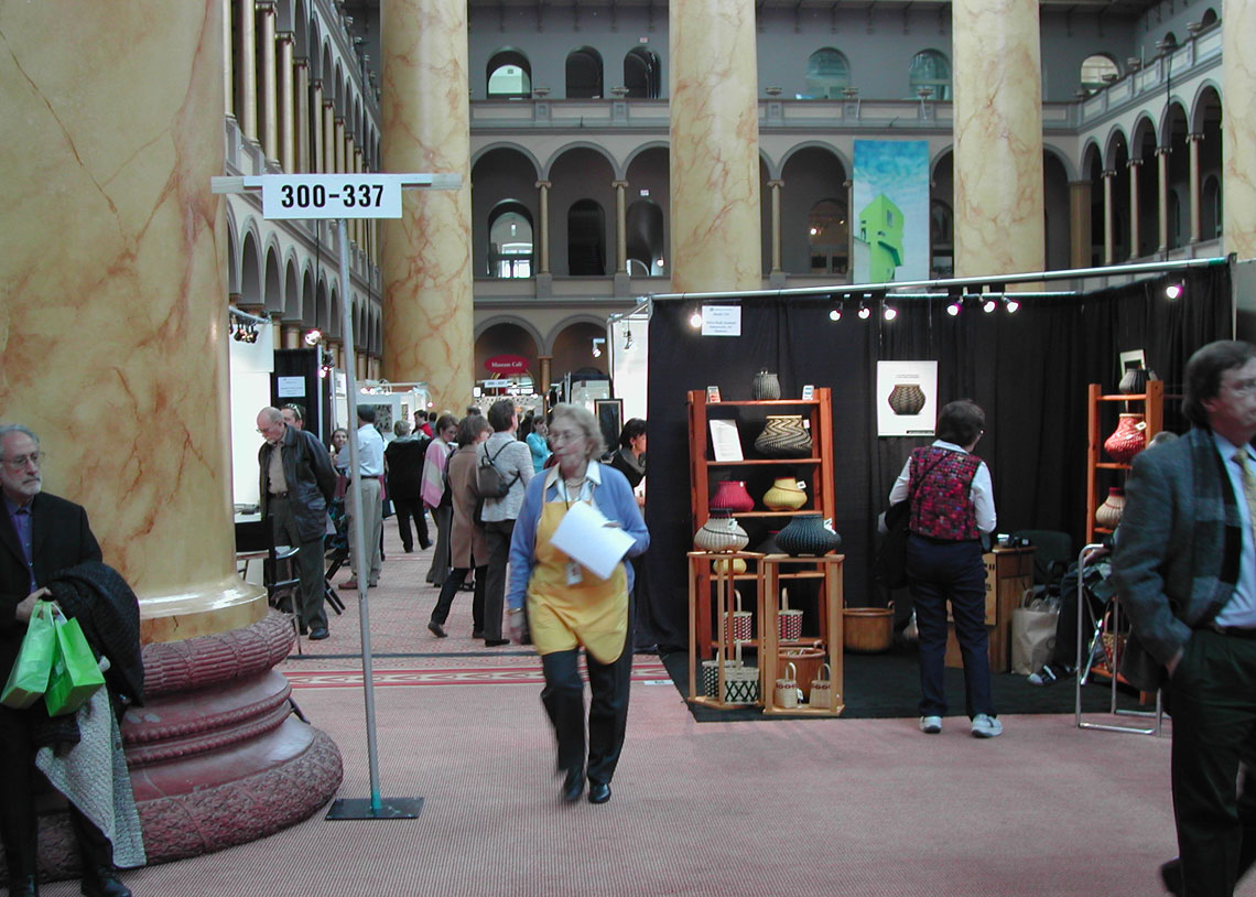 The floor of the Smithsonian Craft Show at the National Building Museum in 	Washington, D.C.